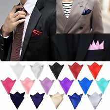 Mens Plain Satin Wedding Party Pocket Square Handkerchief Napkin Formal Hanky