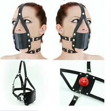 Adult Sex Head Hood Mouth Mask Cosplay SM Fetish Restraint Bondage Ball Gag H