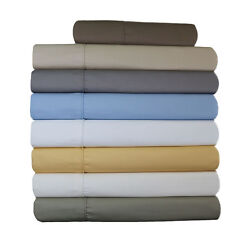 Wrinkle Free 650 Thread Count Solid Cotton Olympic-Size Fitted & Flat Sheets Set