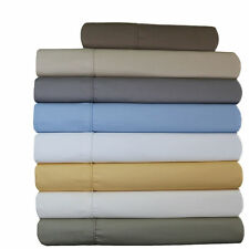 650 TC Wrinkle Free Sheets, Solid Cotton Blend Olympic-Queen Bed Sheets Set
