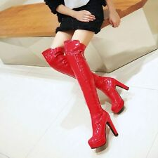 Sexy Women Patent Leather Round Toe Over Knee High Platform High Heel Boots Size