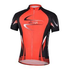 CHEJI Men's Cycling MTB Jerseys Short Sleeve Racing Bike Jersey T-shirt Tops Red
