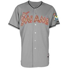 Miami Marlins MAJESTIC Authentic USMC Military Camo Grey Road Cool Base Jersey
