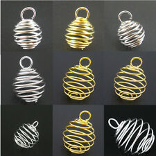 50 Different Size Charm Pendants Breloque Spiral Spring Bead Cage Jewelry Making