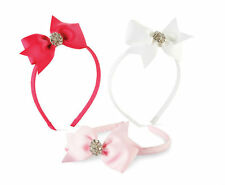 Mud Pie Toddler Girl Jeweled Bow Hard Headband Hot Pink Light Pink White 355010