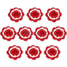 Hand Knitted Yarn Flower Brooch Corsage DIY Craft 4 Colors Home Decor 2 Sizes
