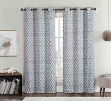 "Set of 2 Panels (76"" x 84"") Amadora Grey Grommet Blackout Window Top Curtain"