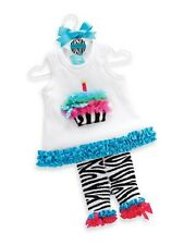 Mud Pie Wild Child Baby Girl Zebra Tunic and Capri Set (0-6M) 190063