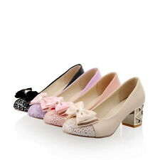 Womens Chunky Heel Bowknot Lolita Cute Girls Pump Court Shoes Plus Size Fashion