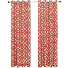 Set of 2 Coral Room Darkening Panels, Meridian Thermal Insulated Grommet Curtain