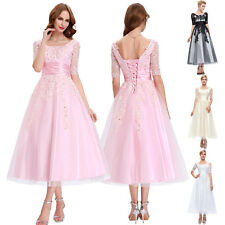 Vintage Pink Tea Length Ball Gown Evening Party Prom Bridesmaid Dress Size 6-18+