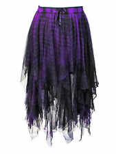 Dark Star Gothic Black Purple Lace Net Multi Tier Gypsy Witchy Hem Skirt S-2X