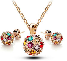 18k Gold GP Colorful Austrian Crystal Ball Necklace Earrings Marriage Sets S48c