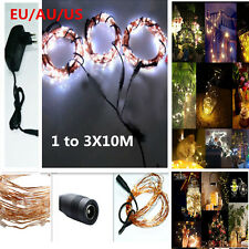 3Pcs 10M 100LED copper Wire String Light Xmas Home Decoration+ 12V Power Adapter