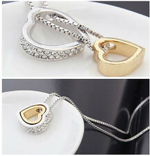 1X Charm Hearts Love Crystal Choker Pendant Chain Necklace Silver Plated Jewelry