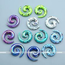 Pair 2-12mm Coating Dots Acrylic Snail Spiral Horn Taper Ear Plugs Expander Punk