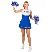 BLUE HIGH SCHOOL CHEERLEADER COSTUME AND POM POMS WOMENS CHEER LEADER UNIFORM