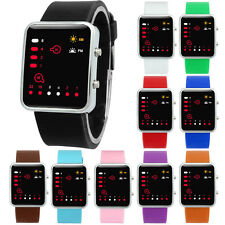 Women Watches Mens Digital Red LED Sports Watch Binary Wrist watch Silicone