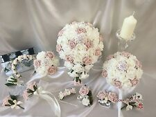 Wedding Flowers Vintage Rose Crystal Bouquet, Bride, Bridesmaid, Flower-Girl