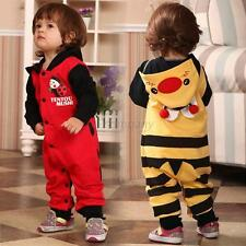 Baby Boy Girl Toddler One-piece Hooded Romper Cartoon Jumpsuit Button Clothes
