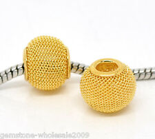 Wholesale Lots Gold Plated Mesh Spacer Beads Fit Charm Bracelet
