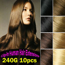 240g Deluxe Thick Clip in Real Human Hair Extensions,Black,Brown,Blonde 10pc CA