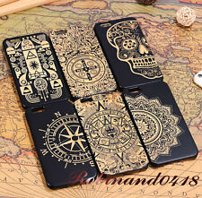 Real Carved Wood Dark Ink Bamboo Hard Case Cover For Samsung galaxy S6 S6 Edge