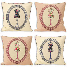 Paoletti Victoria Manequin Applique 100% Cotton Cushion Cover