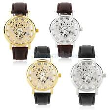Classic Mens Womens Faux Leather Round Skeleton Dial Sports Quartz Wrist Watch