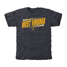 West Virginia Mountaineers Double Bar Tri-Blend T-Shirt - Navy - College