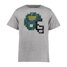 Youth Ash Oregon Ducks 8-Bit Football Helmet T-Shirt - College