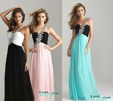 One-shoulder bead Evening Formal Party Ball Prom Bridesmaid Dresses Wedding Gown