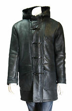 Mens Real Sheepskin Duffle Coat Bain Black Gents 3/4 Long Hooded Fur Shearling