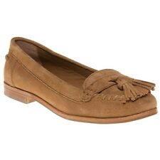 New Womens SOLE Tan Mabel Suede Shoes Flats Slip On