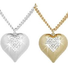 GOLD or SILVER CHUNKY PUFFED HEART Micro Pave Set Crystal Cz Pendant Necklace