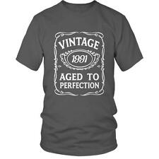 25th Birthday T-Shirt  VINTAGE AGED TO PERFECTION 1991BDay 25 Gift Idea Present
