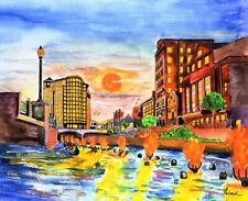 WATERFIRE ART PRINT Waterplace Park Providence RI Gondola Bonfire Renaissance