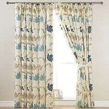 "KINSALE BLUE & CREAM FLORAL COTTON LINED 3"" TAPE TOP CURTAINS + FREE TIE BACKS"