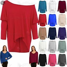 Womens Oversize Jumper Ladies Lagenlook Layering Baggy Off Shoulder High Low Top