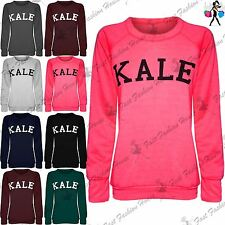 Womans Kale Print Baggy Top Ladies Fleece Full Sleeve Sweats Jumper Sweatshirt