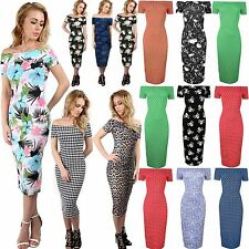 Womens Midi Dress Ladies Off Shoulder Plus Size Dress Cap Sleeve Floral Bardot