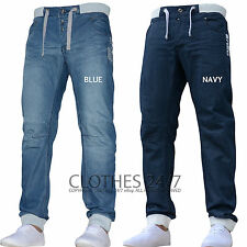 Mens Enzo Designer Branded Denim Cuffed Jogger Jeans Pants Waist Size 28-48 STAN