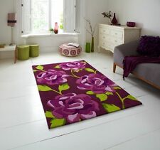 Brown Purple Extra Large 100% Hand Tufted Acrylic Rugs Modern Floral Pattern Mat