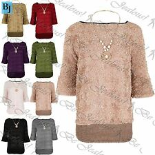 Womens Dipped Hem Bell Sleeve Oversized Baggy Jumper Ladies Necklace Top UK 8-14