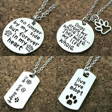 Pet Lover Dog Cat Paw Print Tag Rescue Pendant Necklace