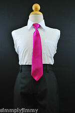 Satin Clip on Long Neck Tie FUCHSIA HOT PINK matching Boy suit8 10 12 14 11Color