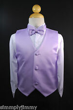 Toddler & Kids LILAC VEST + BOW TIE / LONG NECK TIE Boy Suit & Tuxedo Sz S-28