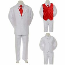 New Baby Boy Formal Wedding Party 7pc White Suit Tuxedo + Red Vest Tie sz 2T-4T
