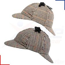 Mens Deerstalker Sherlock Holmes Cap Classic Herringbone Tweed Wool 6 Panel Hat