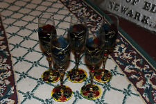 Stunning Multi Color Glass Fluted Champagne Glasses-Gold String Swirl-5 Pieces